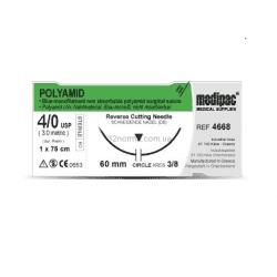 Шовный материал ПОЛИАМИД (POLYAMID), нерассасывающийся, монофиламентный, обратно-режущая игла