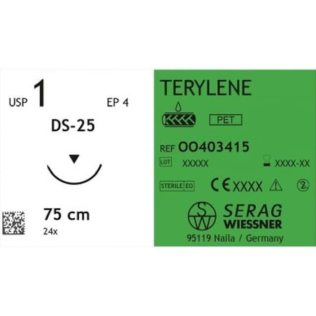 TERYLENE шовный материал полиэстер мультифиламент 1 шт.